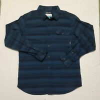Columbia Flannel Button Up Shirt Men's Large Blue Plaid Long Sleeve Omni Wick