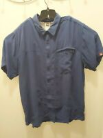 The North Face Mens Shirt Short Sleeve Blue patterned  2XL XXL Camp Hiking EUC