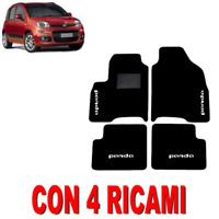 TAPPETINI PER AUTO SU MISURA PER FIAT PANDA (3) IN MOQUETTE E GOMMA CON 4 RICAMI