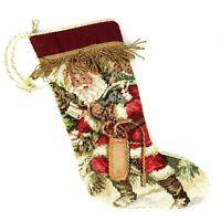 Needlepoint Christmas Stocking Santa Velvet 17 in long Imperial Elegance
