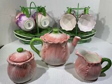 Rare Ceramic Flower Shaped Tea Set 8 Hanging Cups & Saucers Teapot Creamer Sugar