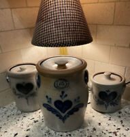Rowe Pottery Salt Glazed Country Home And Rockdale Union Stoneware 3 Piece Set