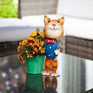Cat Pot Pet Cute Novelty Bright Metal Decorative Garden Flower Planter Ornament