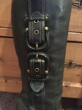 *Rare* FRYE Dark Green Leather Buckle Zip Boot Size 9.5 Mint Condition