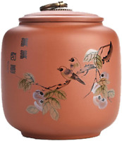 1pc Ceramic Persimmon Bird Pattern Tea Canister Coffee Tins Spice Jar Tea Caddy
