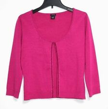 Guess - L - Pink Wool Blend Embellished 3/4 Sleeve Clasp-Close Cardigan Sweater