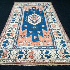 Türkischer Orient Teppich 210 x 132 cm Alter Milas Melas Blau Turkish Old Rug