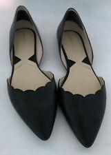 Adrienne Vittadini Flats Black Pointy Toe Shoes Leather Size 10 M