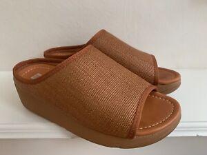 FITFLOP IMOGEN STRAW Light Tan Raffia Slides Slip On Shoes UK 6.5 : WORN ONCE