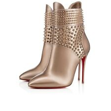 NIB Christian Louboutin Hongroise 100 Colombe Gold Spike Ankle Heel Bootie 38.5