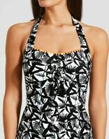 Black White Palm Print Padded Tankini Top BNWT Matalan Holiday (EE)