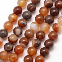 Natürliche Streifen Achat Perlen Poliert Braun 4mm Edelsteine Achatstein G847