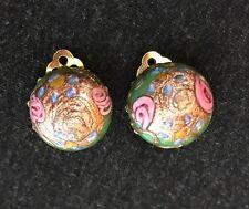 DeMario Art Glass Earrings Murano Venetian Wedding cake button green pink gold