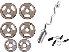 "33KG Olympic EZ Curl Bar Tri-Grip Plate Set, Cast Iron Weight Discs 2""hole"