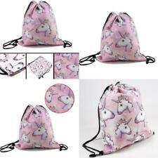 School Drawstring Book Bag Sport Gym Swim PE Dance Girls Kids Backpack unicorn
