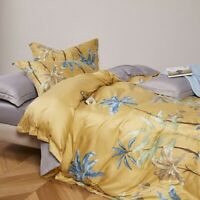 Botanical Duvet Cover Set Tree Leaves Birds Bedding Set Bed Sheet Cotton 4Pcs