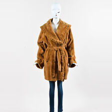 VINTAGE Bloder Pelze Tan Sheared Rabbit Fur Belted Shawl Coat