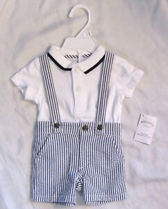 NWT Gymboree Family Brunch Baby Boy Navy Seersucker Set Wedding Easter 3 6 mo
