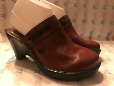 Born NEW Women's Brown Leather Slip On Mules Clogs Wedge Heels W6227 Shoes US 9