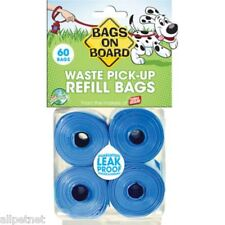 PET WASTE BAGS - 4 ROLLS = 60 BAGS TOTAL! - BIODEGRADABLE - BLUE