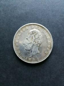 Ecuador silver coin 1 Sucre 1884