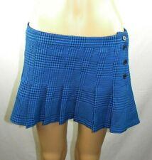 Miley Cyrus Max Azria Blue & Black Plaid Pleated Mini Skirt Women's Sz 9 EUC Y