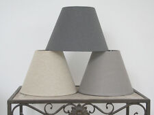 LAMPSHADE ANTIQUE FRENCH SHABBY CHIC LINEN WHITE GREY SHADE BEDSIDE TABLE LINEN