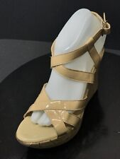 Callisto Of California Women's Beige Wedge Ankle Strap Sandals Size US 8 M