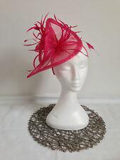 Ladies Pink Sinamay Feather Headband Fascinator Wedding Races