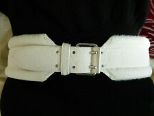 Alexander McQueen white pony hair leather belt IT size 85 / 34 / L - NEW
