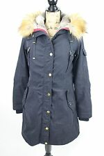 1 Madison Expedition S Womens Navy Blue Parka Winter Coat Faux Fur Hood Trim