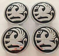 4pcs Set of 4 Black Vauxhall 68mm Alloy Wheel Badge Center Caps