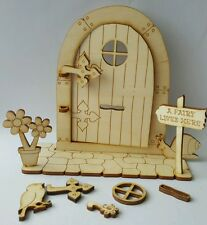 Wooden Fairy door that opens DIY for home or Fairy Garden Decor 12pcs