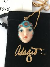 """Phoenix"" Adagio Face Necklace Hand-Painted Porcelain Swarovski Crystal Chain"