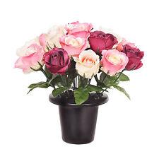 Grave Pot Artificial Open Rose Pink Burgundy Cream Memorial Arrangement