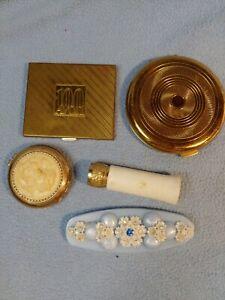 Vintage Revlon and Coty Compacts, Lucite Folding Comb, & Avon Lipstick ~Lot