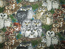 REALISTIC OWLS NATURAL BABY OWL GREEN COTTON FABRIC FQ OOP