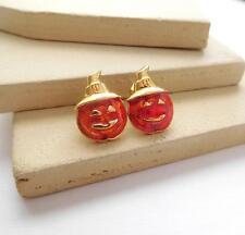 Vintage Avon Small Orange Gold Halloween Pumpkin Jack-O-Lantern Earrings I32
