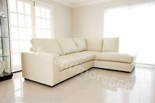 BRAND NEW WESTPOINT BIG CORNER SOFA SUITE IN CREAM FAUX LEATHER RIGHT HAND SIDE