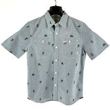 New Vans Boys Youth Medium Gray Stripe Short Sleeve Button Up Pocket Front Shirt