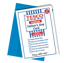 Greetings Card TESCO VALUE Comedy Rude Funny Humour Fathers Day Dad #186