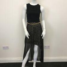 New Look Ladies Black Gold Leopard Print Sheer Dipped Hem Maxi Dress UK Size 8