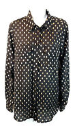 Who What Wear Women's Size Large Black Long Sleeve Button Up Shirt Blouse Sheer