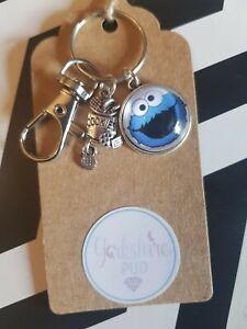 Cookie Monster Jar Love Sesame Street Character Blue Keyring Bag Charm Gift Tag