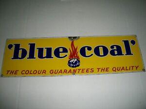 Blue coal fuel porcelain sign
