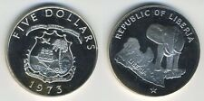 Liberia 1973 - 5 Dollars Silver Coin - Standing elephant above star - RARE
