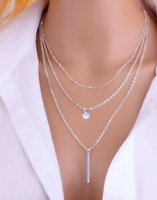 Choker Necklace Silver Coloured Multi 3 Layer Fashion Chain Drop Women Woman