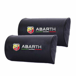 for Abarth Pair Carbon Fiber Car Logo Neck Seat Support Pillow D Style Headrest