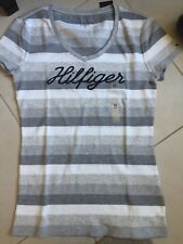 NWT Women Tommy Hilfiger Logo T Shirt- Medium - Grey triple striped -100% cotton