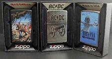 Zippo Lighter 3er Set: MUSIC (Iron Maiden, AC/DC, Nirvana) Streetchrome, Black